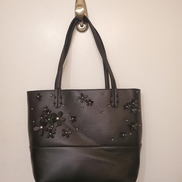 Charming Charlie Black Daisy Handbag